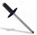 4.8mm x 16mm Alu Pop Rivets Dome Head Large Flange Black per Box of 150