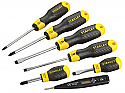 Stanley Cushion Grip Flared Philips Screwdriver set 6 pc cw Voltage tester each